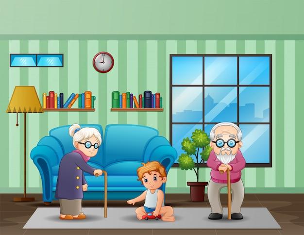 リビングルームで子供と老夫婦