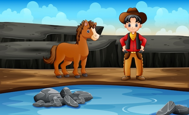 カウボーイと彼の馬の野生の西のシーン