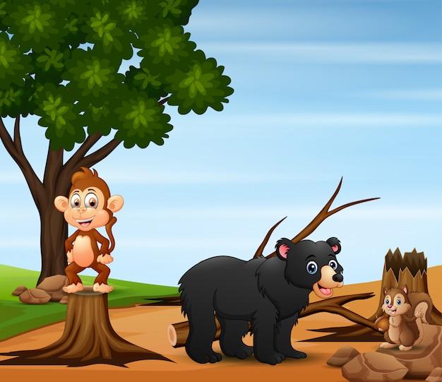 Сцена контроля загрязнения со многими животными и вырубка лесов