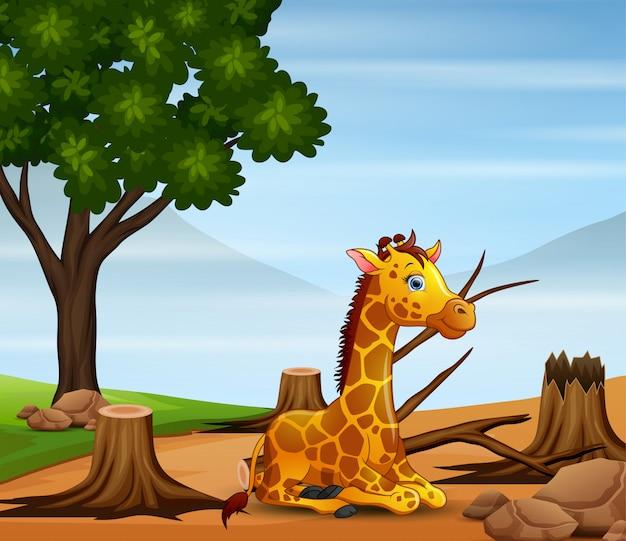 Сцена контроля загрязнения с жирафом и засухой