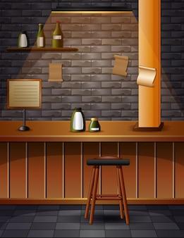 Интерьер бара кафе-паба с кирпичными стенами