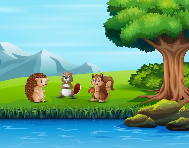 緑豊かな公園の様々な動物のイラスト