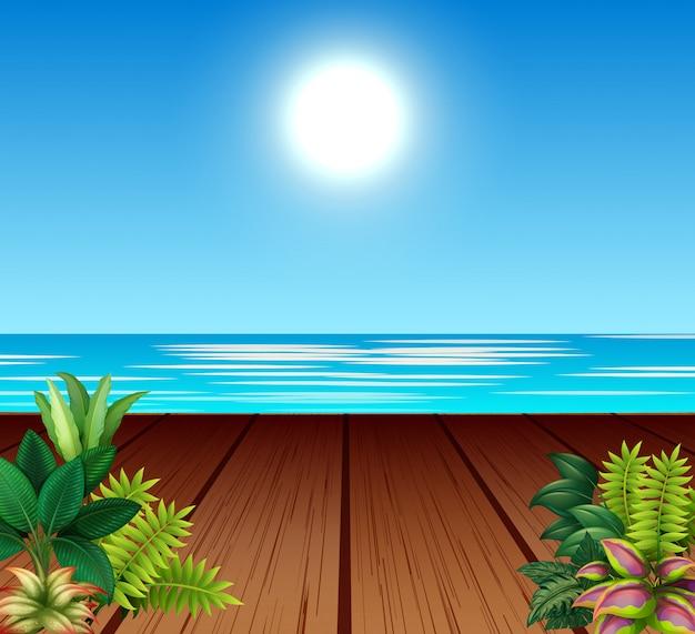 Пейзаж с портом и ярким солнцем в небе