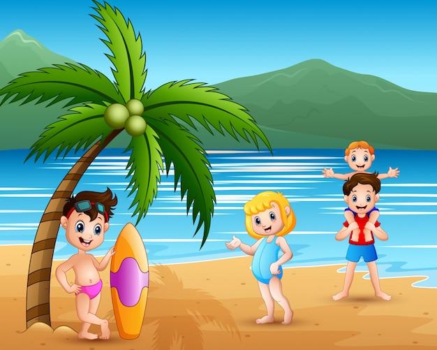 ビーチでの家族旅行