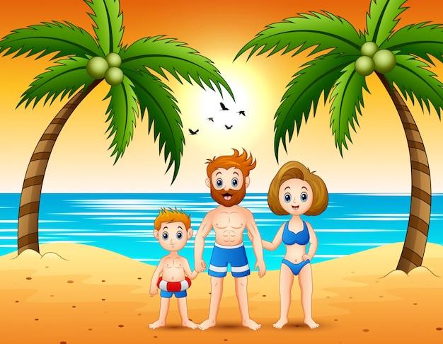 夏のシーズンを過ごす息子と幸せな家族