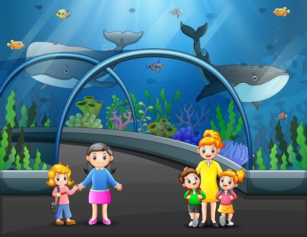 Интерьер аквариума со стеклянными прозрачными стенами и посетителем