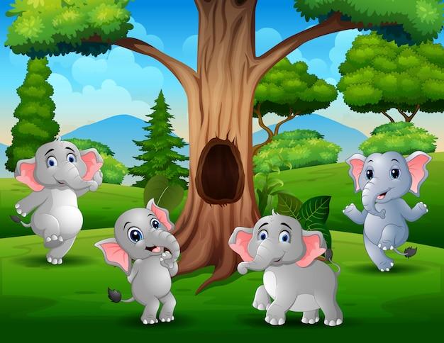 Группа слонов, играющих под полым деревом