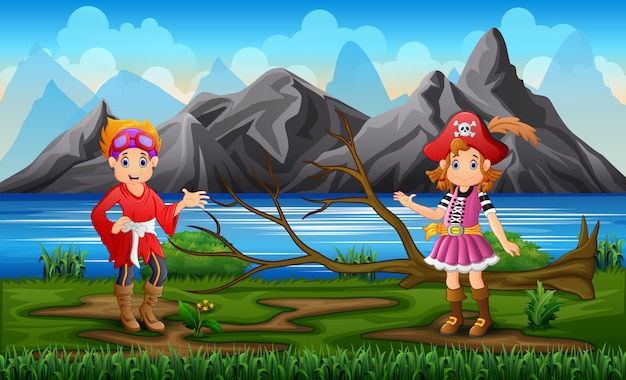 海賊の男の子と女の子、自然の背景