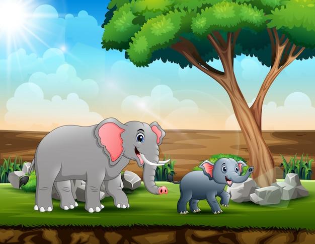 Мама и молодые слоны в саванне