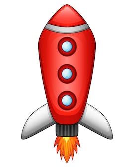 白い背景に漫画ロケットの宇宙船