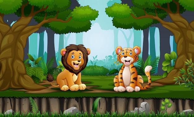 Лев и тигр сидят посреди леса