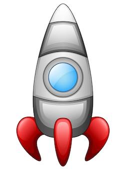白い背景に漫画の宇宙船