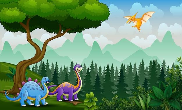 Сцена с динозаврами, играющими в джунглях
