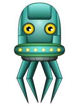 タコのロボットの文字は、白の背景に
