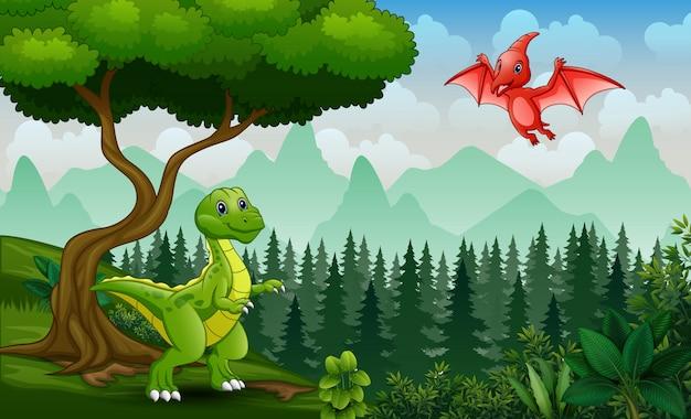 Мультяшные динозавры играют в джунглях
