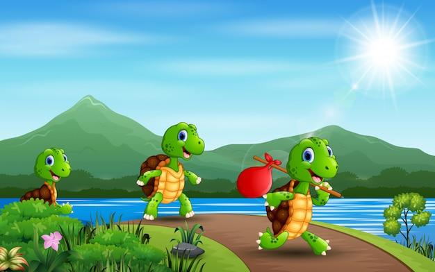 Мультяшный три черепахи бегут по дороге