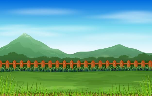 Горный пейзаж с зеленым полем