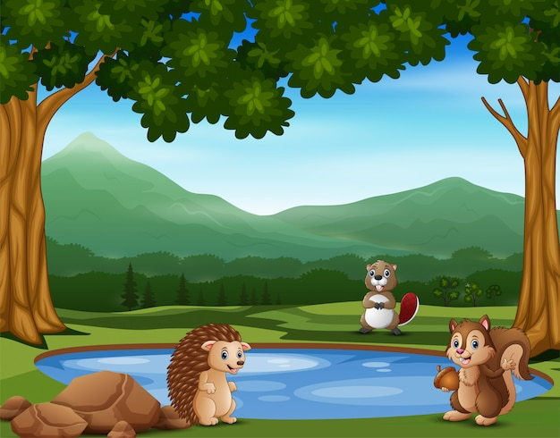 小さな池の近くに立っている動物漫画