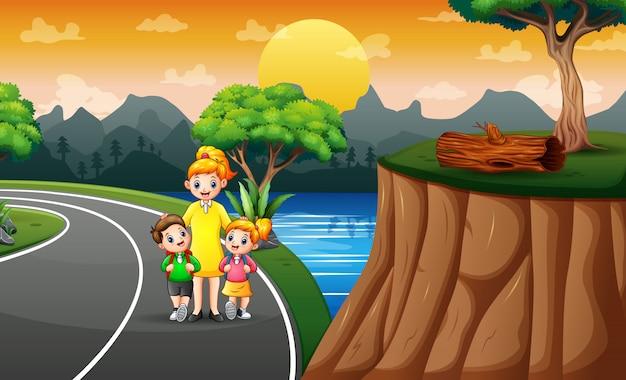 子供たちの学校への散歩のイラスト