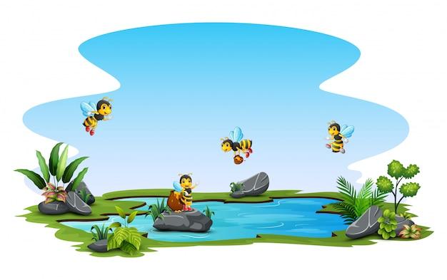 小さなプールの上を飛んでいる蜂のグループ