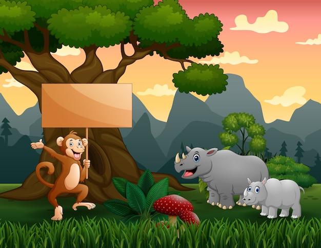 ジャングルの中で野生動物の漫画