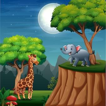 ジャングルの風景の中の漫画の野生動物