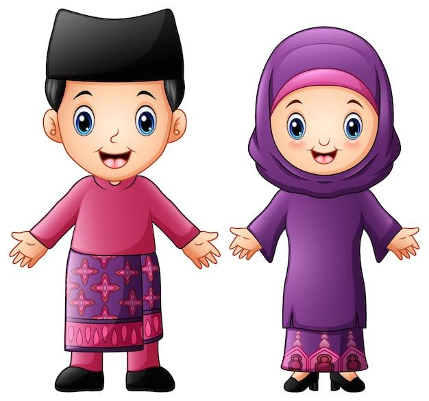 伝統的な衣装を着た漫画ブルネイカップル