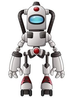 白い背景にかわいい漫画ロボット