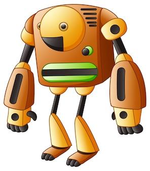 Браун мультфильм робот, изолированных на белом фоне