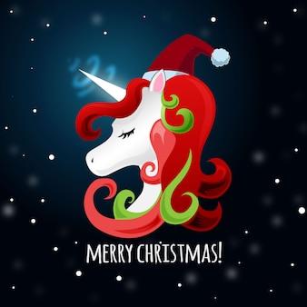 Рождественский милый единорог