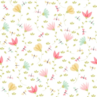 Векторный цветочный узор в стиле каракули