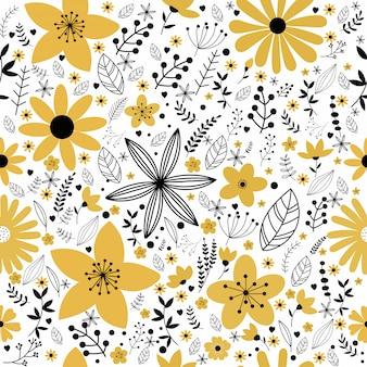 Цветочный узор вектор в стиле каракули