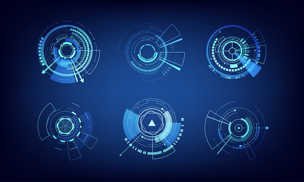 Векторные элементы набора технологий круг дизайн