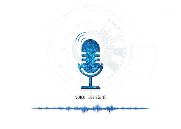 Вектор абстрактный значок микрофона на цифровой звуковой волны на фоне белого цвета