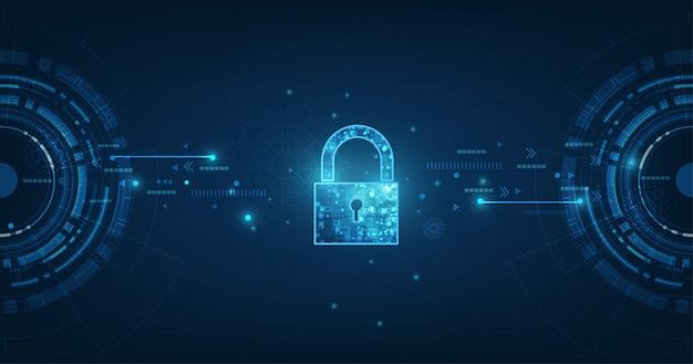 Замок со значком замочной скважины в защите личных данных иллюстрирует идею кибер данных или конфиденциальности