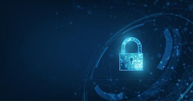 Значок замка с замочной скважиной в области безопасности личных данных иллюстрирует идею кибер-данных или конфиденциальности информации.