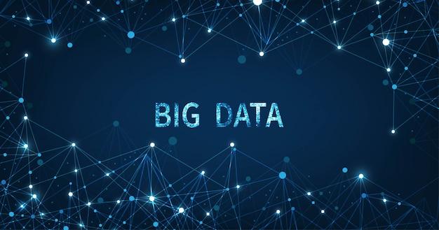 暗い青色の背景にビッグデータ低ポリ接続可視化の概念。