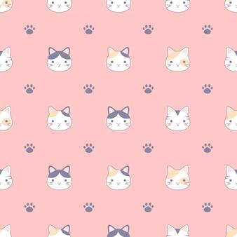 かわいい猫と足跡、ファブリック、テキスタイル、壁紙デザインコンセプトのデザインとのシームレスなパターン。