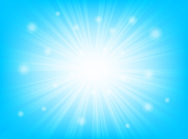 Санберст ярко-синий и боке с горящими лучами света абстрактного фона