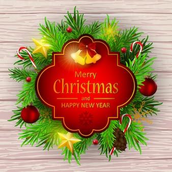 花輪と現実的なクリスマスカード