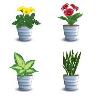 美しいカラフルな花のベクトルと花の鍋