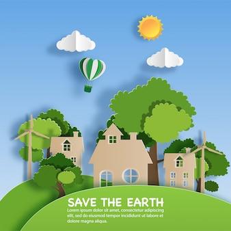 エコグリーンシティのある風景の紙アートスタイル。