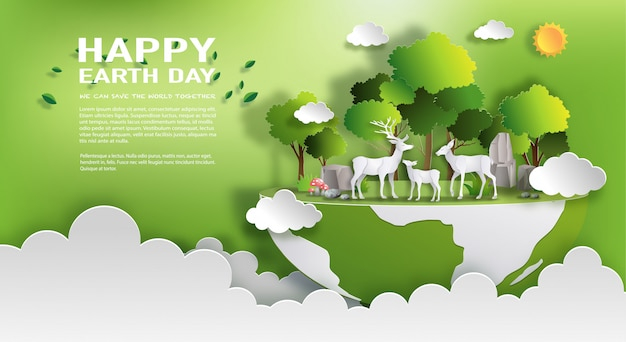 世界の環境と地球の日の概念
