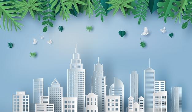 Красивые листья и зеленый город.