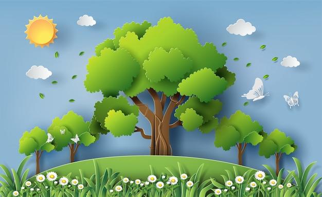 森の中の多くの木が美しいデイジーの花のフィールド。
