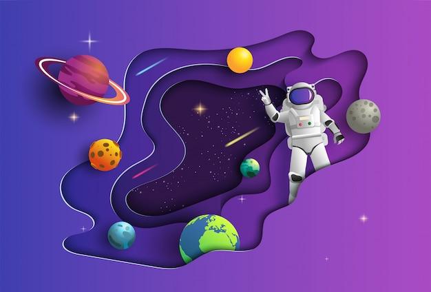 ミッションの宇宙空間で宇宙飛行士の紙アートスタイル。