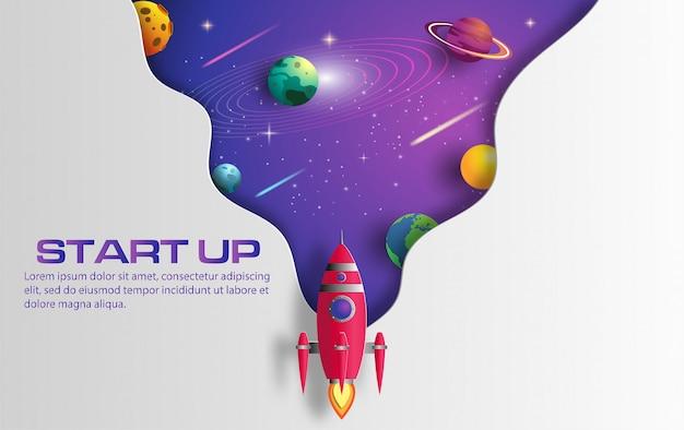 Бумажный стиль искусства летания ракеты в космосе с запускает концепцию.