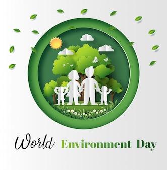 Бумага художественный стиль концепции всемирного дня окружающей среды.
