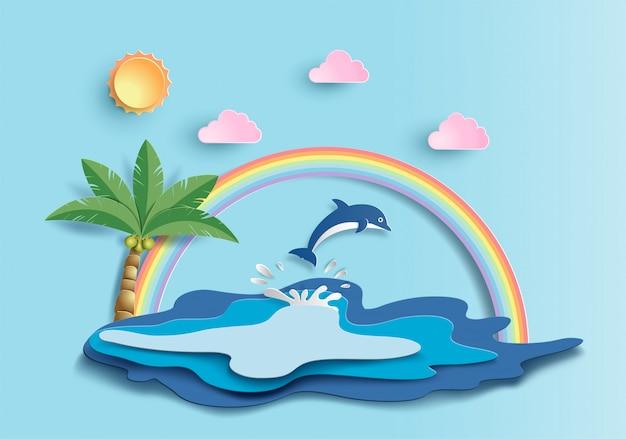 水中の多くの海の生き物と世界の海の日の概念。