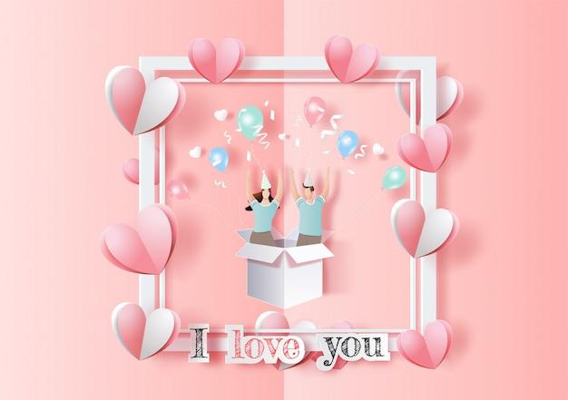 幸せなバレンタインデー、ポップアップカード、愛の手を上げたかわいいカップルが挙手し、パーティーで楽しい時を過します。